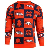 Denver Broncos NFL Patches Ugly Crewneck Sweater All items