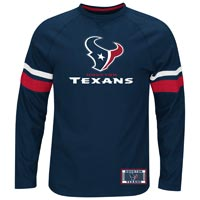 Houston Texans Power Hit Long Sleeve NFL T-Shirt With Felt Applique All items