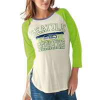 Seattle Seahawks Women's Hang Time Dual Blend 3 Quarter Raglan Sleeve Top All items