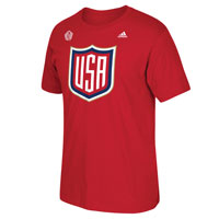 USA Hockey World Cup Of Hockey Primary Logo Go To T-Shirt (Red) All items