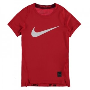 Nike Pro Combat Baselayer Top – Red/White – Kids All items