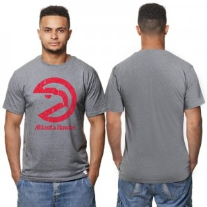 """Atlanta Hawks Hardwood Classics Distressed Print T-Shirt- Grey Heather"" Hoodies"