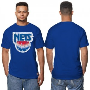 """New Jersey Nets Hardwood Classics Distressed Print T-Shirt – Royal Blu"" Hoodies"