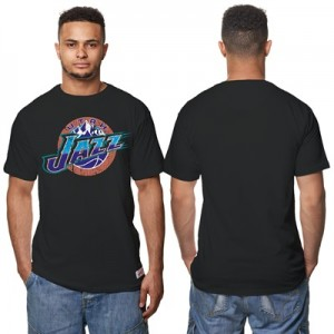 """Utah Jazz Hardwood Classics Distressed Print T-Shirt – Black – Mens"" Hoodies"