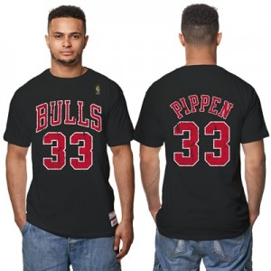 """Chicago Bulls Scottie Pippen Hardwood Classics Distressed Name & Numbe"" Hoodies"