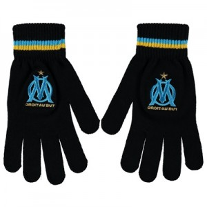 Olympique de Marseille Fan Gloves – Black – Adult Clothing