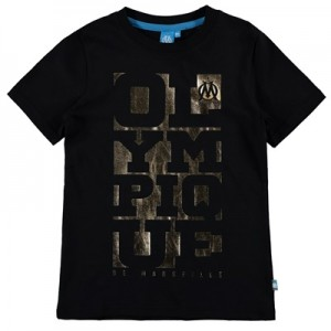 Olympique de Marseille Foil Graphic T-Shirt – Black – Boys Clothing