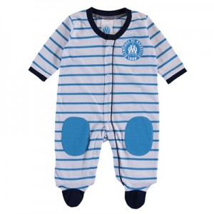 Olympique de Marseille Striped Sleepsuit – White/Blue – baby Clothing