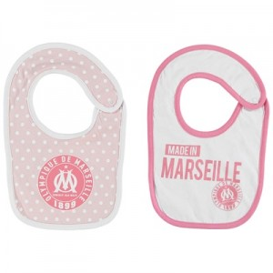 Olympique de Marseille Spotty 2PK Bibs – White/Pink – Baby Girls Clothing