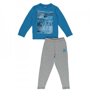 Olympique de Marseille Long Pyjamas – Blue/Grey – Boys Clothing