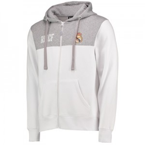Real Madrid Full Zip Hoodie – White/Grey – Mens All items