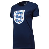 England Large Printed Crest T-Shirt - Navy -Womens