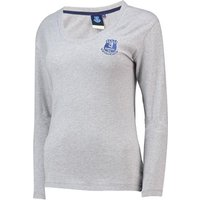 Everton Core Basic Crest Long Sleeve T-Shirt -Grey Marl - Womens