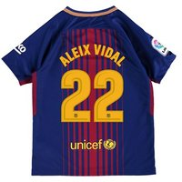 Barcelona Home Stadium Shirt 2017-18 - Kids with Aleix Vidal 22 printing