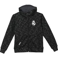 Real Madrid Full Zip Marl Effect Hoodie - Black - Boys