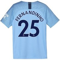 Manchester City Home Stadium Shirt 2018-19 - Kids with Fernandinho 25 printing