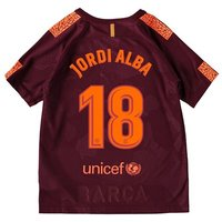 Barcelona Third Stadium Shirt 2017-18 - Kids with Jordi Alba 18 printing
