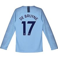 Manchester City Home Stadium Shirt 2018-19 - Long Sleeve - Kids with De Bruyne 17 printing