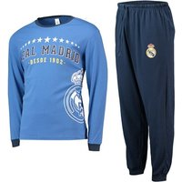 Real Madrid Long Sleeve Crest Pyjamas - Blue - Mens