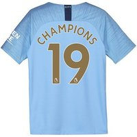 Manchester City Home Stadium Shirt 2018-19 - Kids with Champions 19 printing