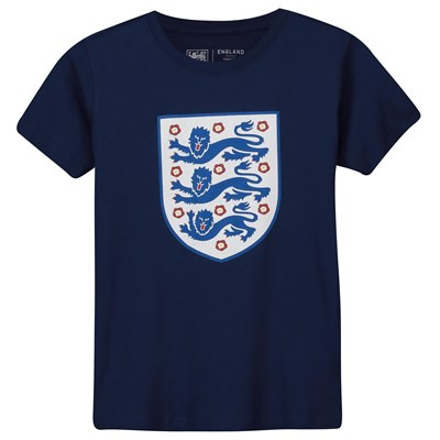 England Large Printed Crest T-Shirt - Navy - Kids