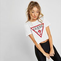 GUESS Icon Crop T-Shirt - White - Womens